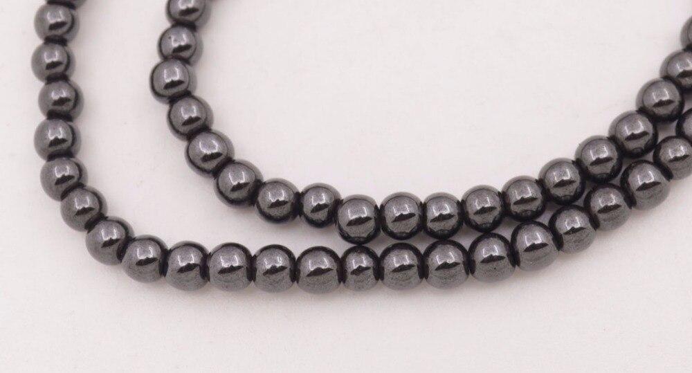 """Купить с кэшбэком 5 PCS 6mm Round Natural Black Magnetic Hematite Necklace 18"""" Long"""