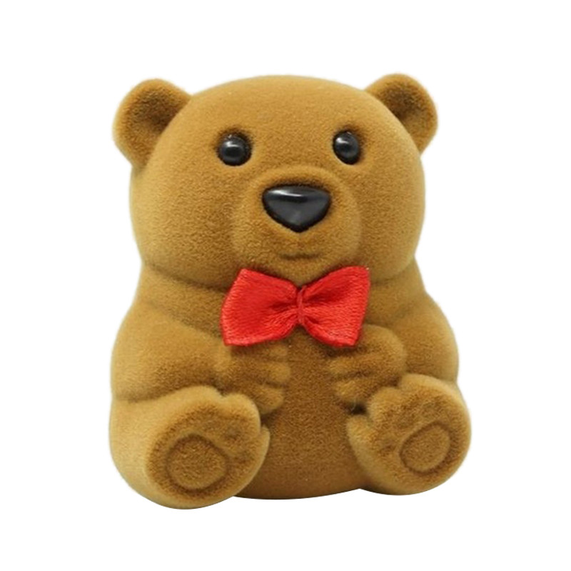 Rings Case Cute Bear with Bow tie Rings Carring Cases Wedding Jewelry Ring Gift Case Jewelry Ring Storage Boxes 2018 New Arrival