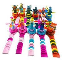 Śliczne superbohater zegarek klocki Ninjagoed Minecrafted obróć figurki cegły kompatybilny LegoINLY na boże narodzenie dzieci prezent zabawka
