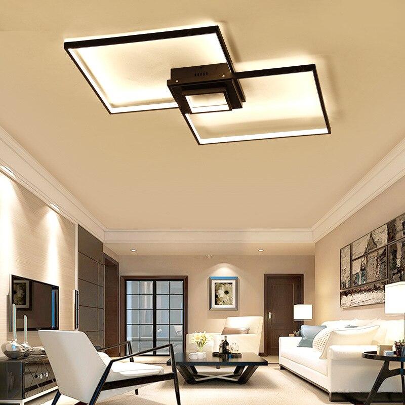 Креативный современный квадратный алюминиевый светодиодный потолочный светильник для гостиной, спальни, учебы, AC85-265V, Белый/Черный потолоч...