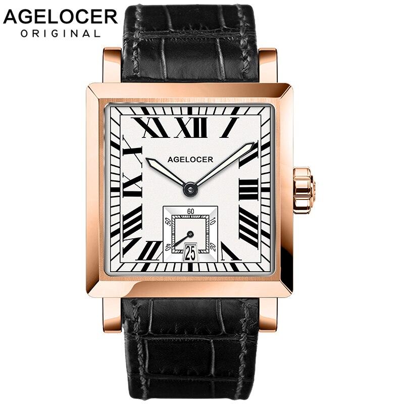 AGELOCER montres hommes sport montres noir acier double temps avec calendrier lumineux analogique cadeau montre-bracelet homme carré secondes cadran
