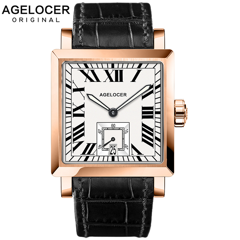 AGELOCER Watches Men Sports Watches Black steel Dual Time With Calendar Luminous Analog Gift Wristwatch Man Square Seconds DialAGELOCER Watches Men Sports Watches Black steel Dual Time With Calendar Luminous Analog Gift Wristwatch Man Square Seconds Dial