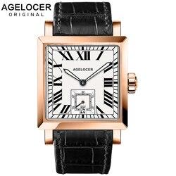 AGELOCER zegarki męskie zegarki sportowe czarna stal podwójny czas z kalendarzem Luminous analogowy zegarek na rękę Man Square Seconds Dial