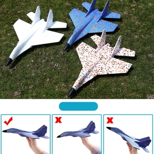 Image 3 - DIY Kids Toys Hand Throwing Model Airplane Foam Aircraft Stunt Luminous Education EPP Glider Fighter Planes Toys For Children
