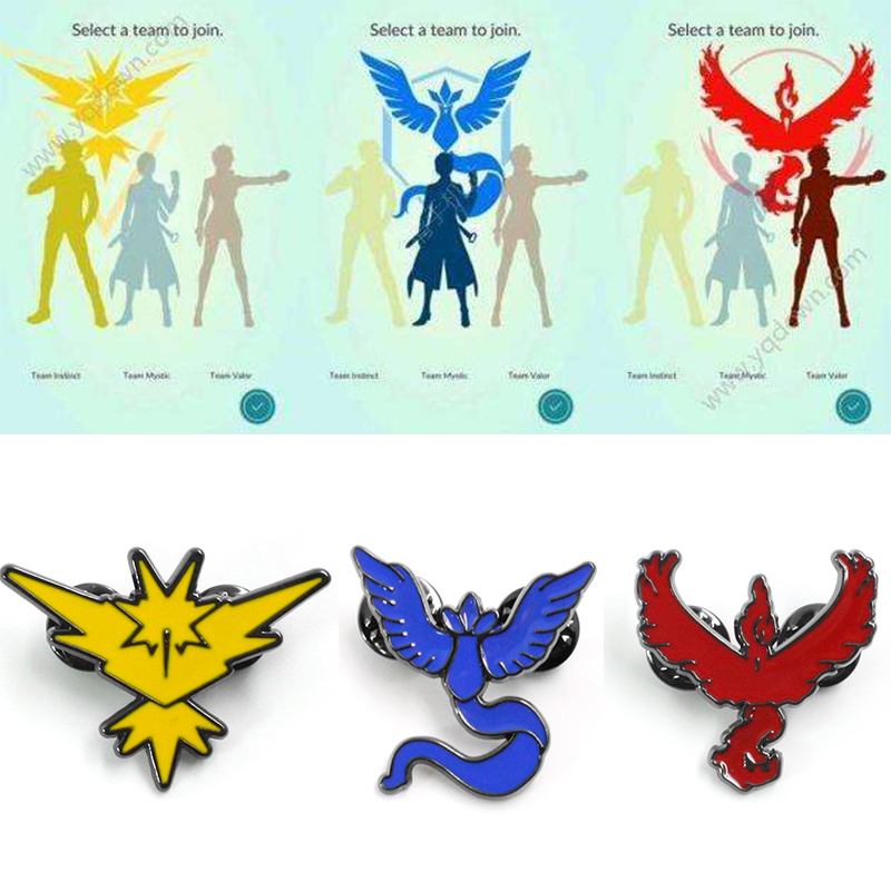 Game Pokemon Go Brooch Cosplay Prop Accessories Team Mystic Team Valor Team Instinct Three Camps Badges Pin Jewelry Pokemon