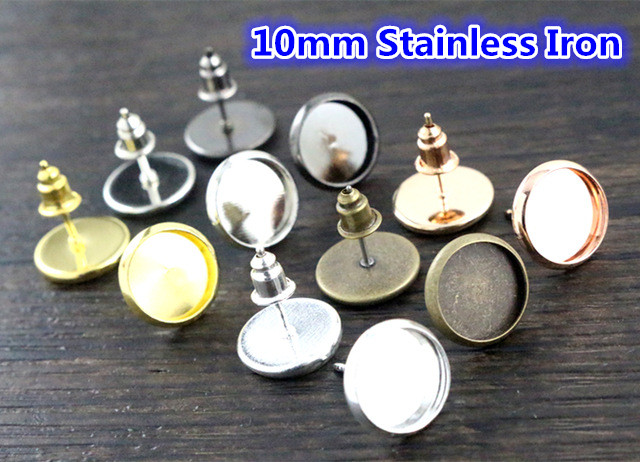 10mm 50pcs/ Lot 8 Colors Plated High Quality Stainless Iron Earring Studs(with Ear Plug) Base,Fit 10mm Glass Cabochons
