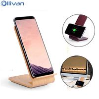 Ollivan QI Wireless Charger For Samsung Galaxy S8 S8plus S7 S7edge S6 S6edge Note5 Note8 Wood