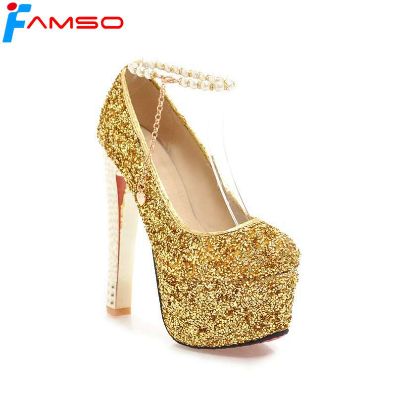 FAMSO 2018 New Shoes Spring Autumn Shallow Shoes Beading Gold High Heels 15cm Red Wedding Shoes glitter Female Prom Pumps siketu 2017 free shipping spring and autumn women shoes fashion sex high heels shoes red wedding shoes pumps g107
