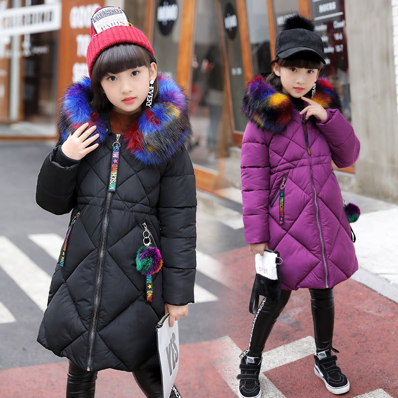 Fashion Winter Girls Jacket Cotton Padded Coat Big Fur Collar Hooded Children Outerwear Long Coat For Girls Kids Jacket Z303 цена