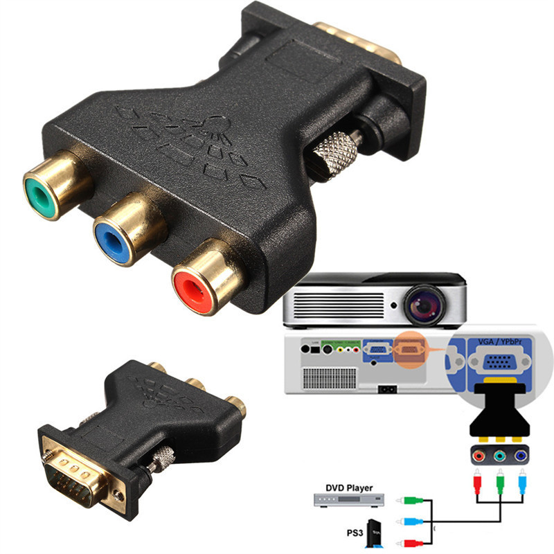 hot sale vga to rca adapter 3 rca video female to hd15 pin. Black Bedroom Furniture Sets. Home Design Ideas