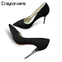 Craylorvans Top Quality Spike Heels 2017 Women Pumps Suede Pointed Toe Red Bottom High Heels Ladies