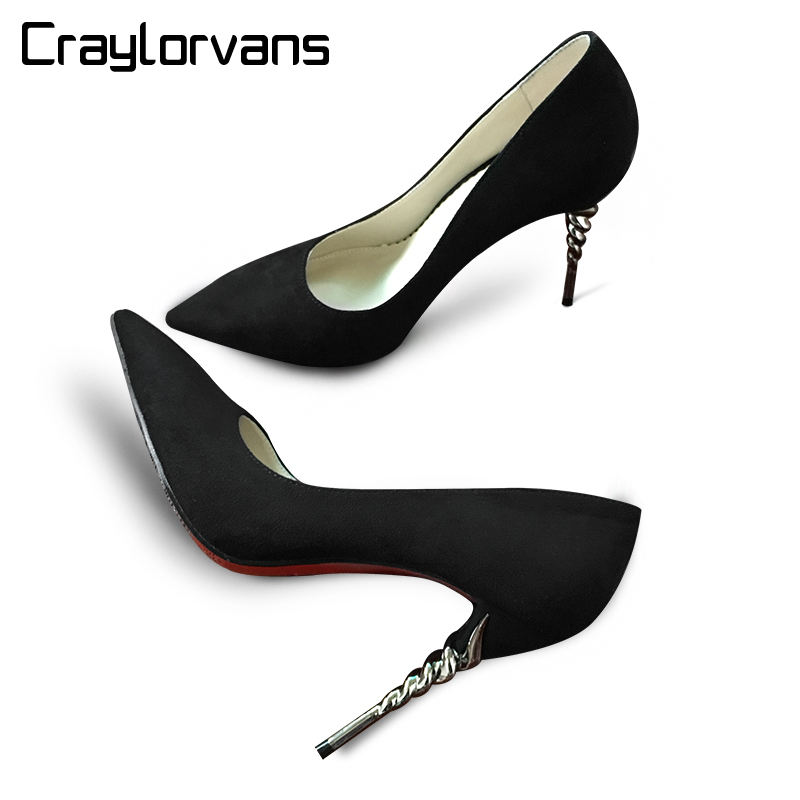 craylorvans top quality leopard gradual change color women pumps pointed toe thin high heels 2018 new fashion luxury women shoes Craylorvans Top Quality Spike Heels 2018 Women Pumps Suede Pointed Toe Red Bottom High Heels Ladies office Shoes