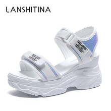 цены Women Bling Sandals 2019 Summer Platform Sandals 8 CM Wedges Thick Bottom Casual Woman Shoes Comfortable White Sandals Sneakers