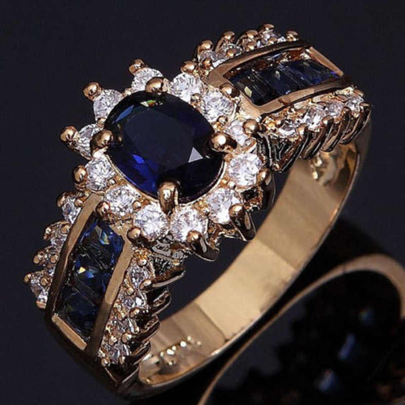 New Fatpig Jewelry Engagement Ring gold Lovers Promise Ring for women Size 6-12 Blue Zircon Gold Filled Wedding Party495