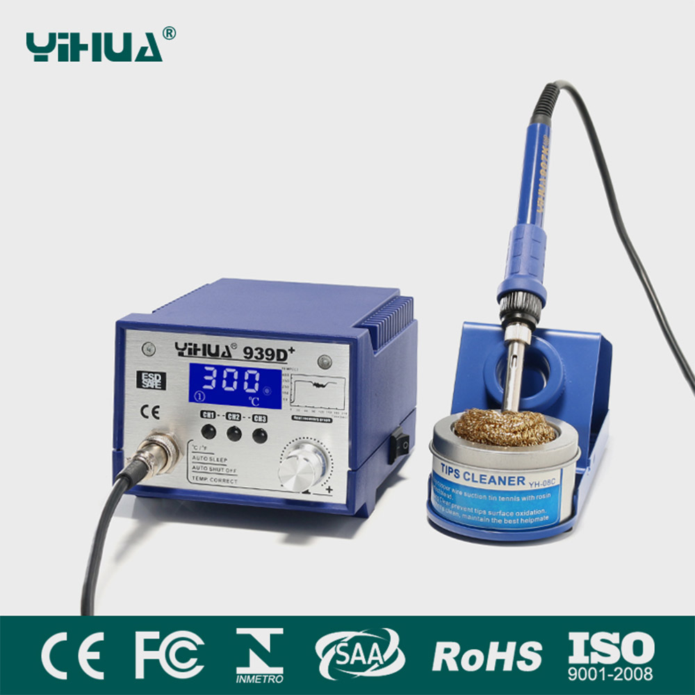 YIHUA 939D+ 75W Adjustable Temperature Electric Soldering Iron Rework Soldering Station 220V OR 110V in stock 100% xiaomi mi universal smart remote controller home appliances wifi ir switch 360 degree smart for air conditioner tv