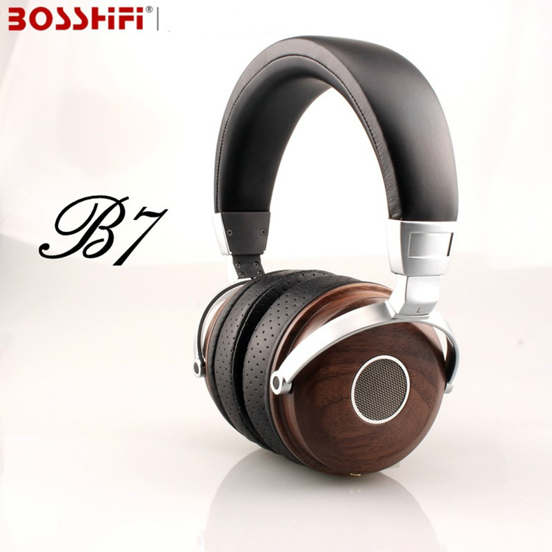 BLON BOSSHiFi B7 Hifi Wooden Metal Headphones Mahogany Open Monitor Headset DJ Headphone With Beryllium Alloy Driver Earphones 100% original high blon b6 hifi wooden metal headband headphone headset earphone with beryllium alloy driver leather cushion