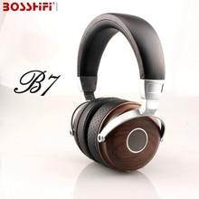 BLON BOSSHiFi B7 Hifi Wooden font b Metal b font Headphones Mahogany Open Monitor Headset DJ