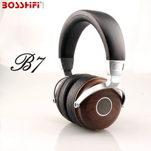 Sale BLON BOSSHiFi B7 Hifi Wooden Metal Headphones Mahogany Open Monitor Headset DJ Headphone With Beryllium Alloy Driver Earphones