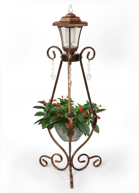 hlc antique metal plant flowerpot stand with solar led bronze