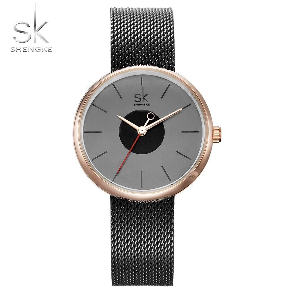 8d4332a644e Shengke Novas Mulheres Marca de Moda Causal Vestido de Relógios de Pulso  Cinto de Malha Jogo Mix de Luxo Feminino Relógio de Quartzo Senhoras Relógio  de ...