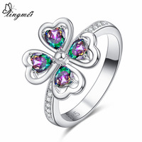 lingmei Romantic Heart Multicolor & Pink White CZ Silver Color Ring Size 6 7 8 9 Flowers Wedding Engagement Women Jewelry Gift