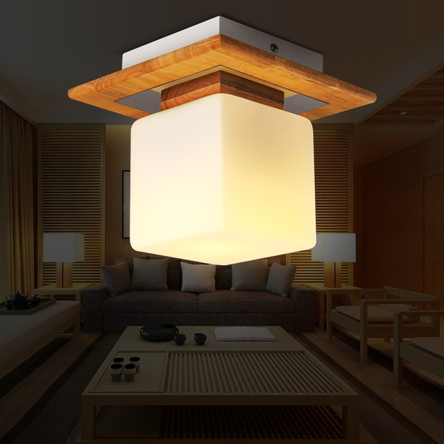 Ceiling Light Japanese: Japanese Wood Cubes Ceiling Light Modern Minimalist Home