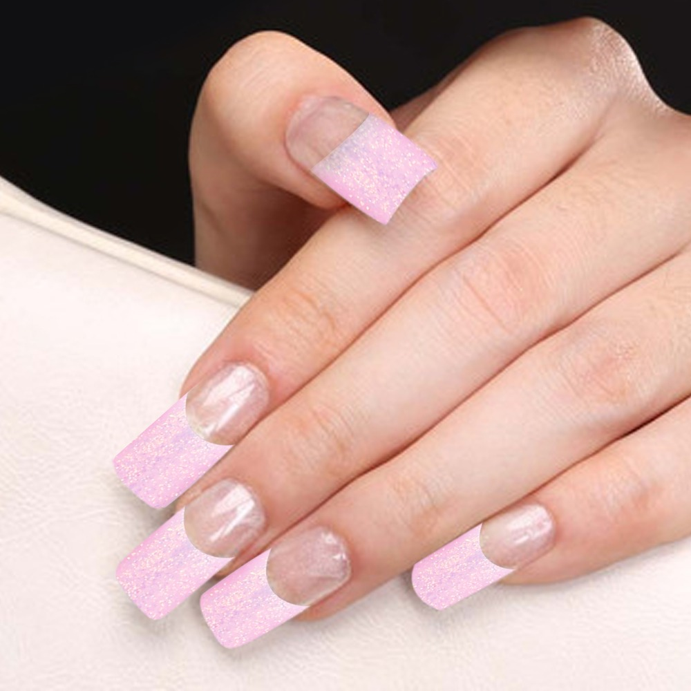 Yaoshun 70 Pcs Half Nail Tips French Manicure Pink Glitter Design Acrylic False Nails Artificial Decoration In From Beauty Health On