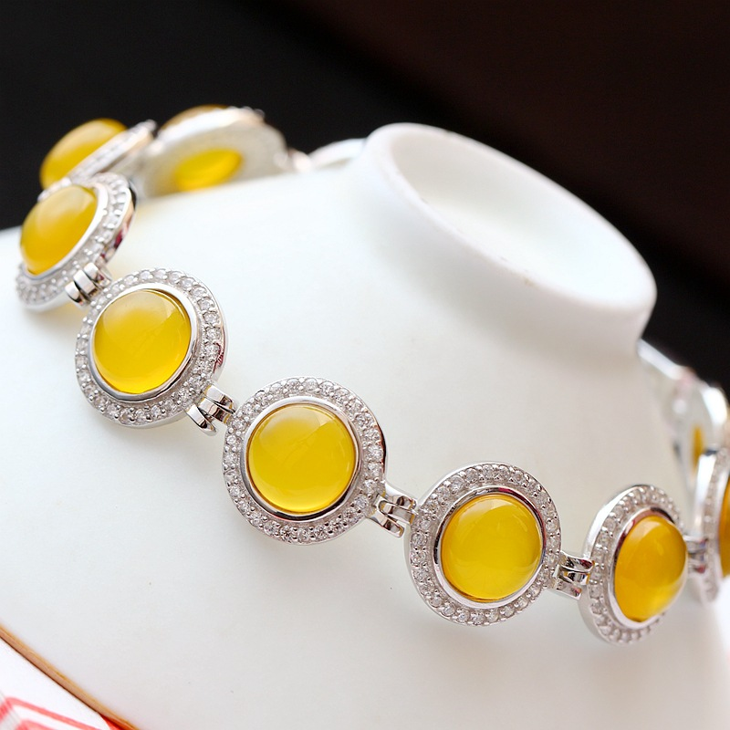 Vintage Thai Silver Wholesale Inlay Natural Yellow Chalcedony Fashion Bracelet New Womens S925 Sterling Silver BraceletVintage Thai Silver Wholesale Inlay Natural Yellow Chalcedony Fashion Bracelet New Womens S925 Sterling Silver Bracelet