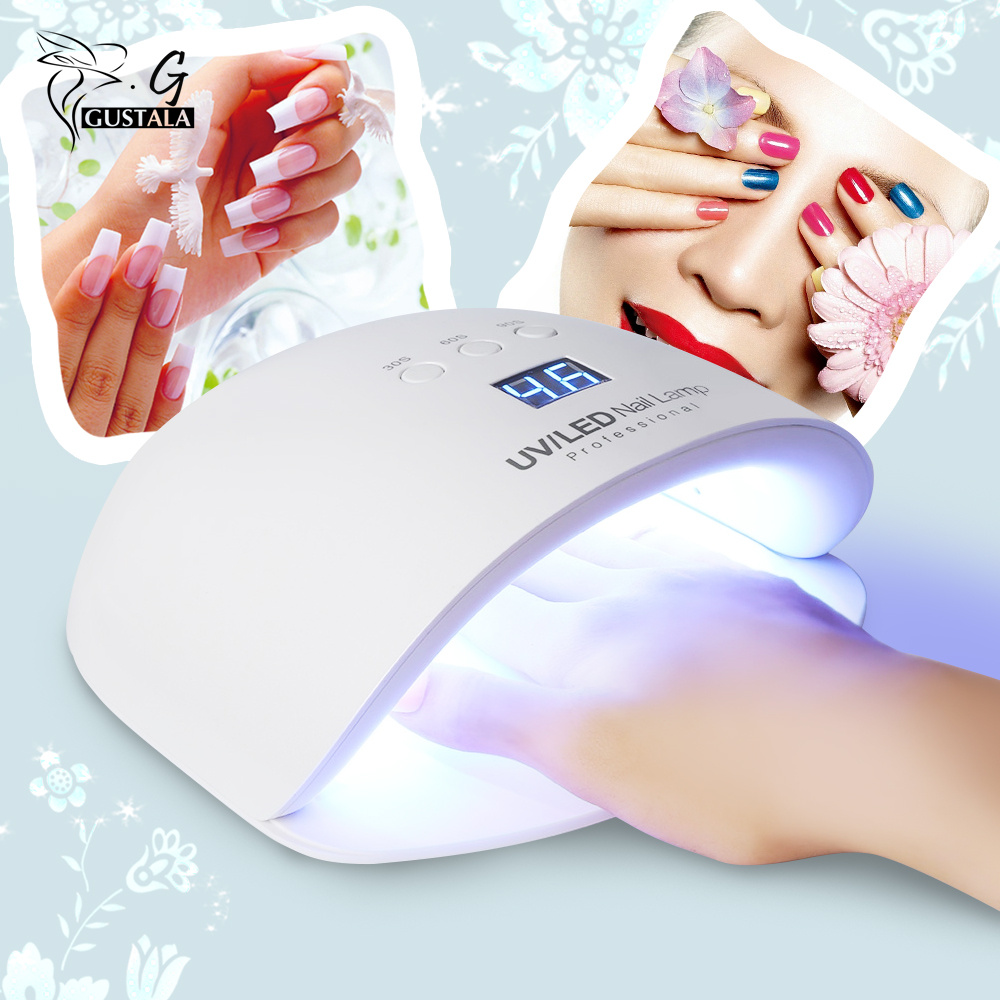 Gustala EM1818 Nail Dryer Lamp 24W White Light Profession Manicure Tool LED UV Dryer Lamp for Curing Nail Polish Nail Gel nail clipper cuticle nipper cutter stainless steel pedicure manicure scissor nail tool for trim dead skin cuticle