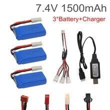 7.4 V 1500 Mah Lipo Batterij Met Usb-oplader Voor FT009 Rc Boot En Voor Wltoys 144001 12428 Rc Auto batterij 7.4 V 1500 Mah 903462
