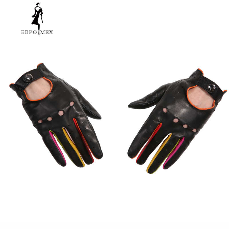 fb43938f8 ... Women's Winter Genuine Leather Gloves 2017 New Fashion Brand Ladies  Black Unlined Driving Gloves Goatskin Mittens