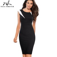 Nice Forever Vintage Optical Illusion Patchwork Wear To Work Zipper Vestidos Bodycon Office Business Sheath Women