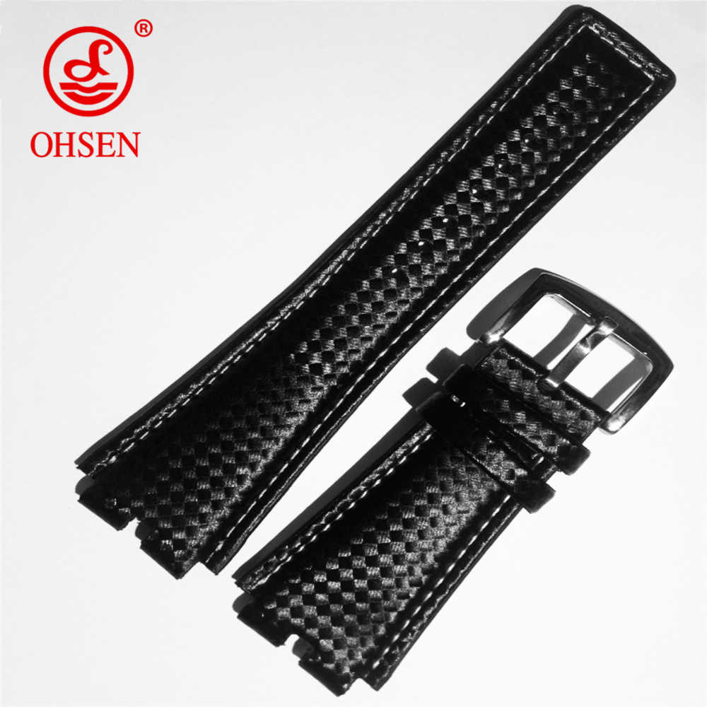 OHSEN AD0930 Watch Bracelet Belt Black Watchbands Genuine Leather Strap Watch Band 24mm Watch Accessories Wristband