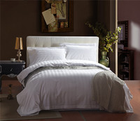 White hotel bedding sets 100s cotton stripe plaid satin silk bedclothes king queen 4Pcs duvet cover bed sheet set pillow sham