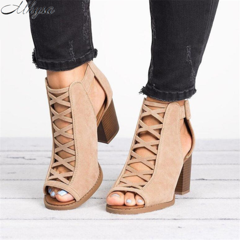 Mhysa 2019 Summer Ladies Fish Mouth Open Toe High Heel