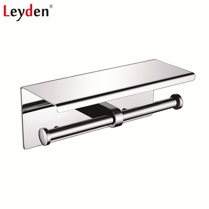 Leyden Toilet Paper Holder Stainless Steel Wall Mounted Polished Chrome Double with Mobile Phone Holder Shelf Bathroom Accessory modern chrome polished sus304 stainless steel toilet paper holder with cover wall mounted bathroom hardware sets wd51