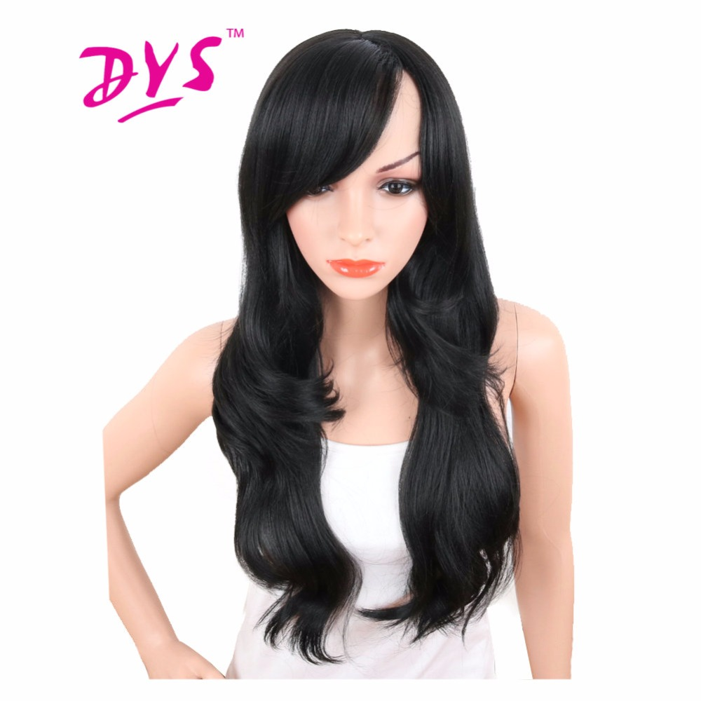 Deyngs 28inch Long Body Wave Synthetic Wigs For Black Women Natural Black Color Brazilian Hair Wigs With Bangs Heat Resistant