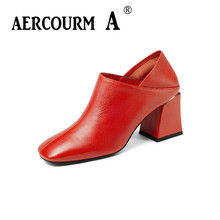 Aercourm A 2018 Women Genuine Leather Pumps Shoes Fashion Female Shallow Square High Heel Shoes Black Red Dress Square Toe Shoes