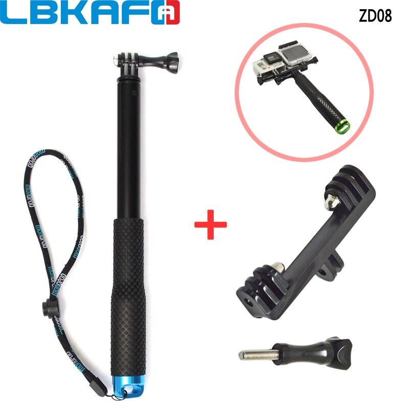 LBKAFA Extensible Télescopique De Poche Pôle Selfie Manfrotto Bâton + Double Support pour Gopro Hero 6 5 4 3 + SJCAM SJ4000 SJ5000 SJ6