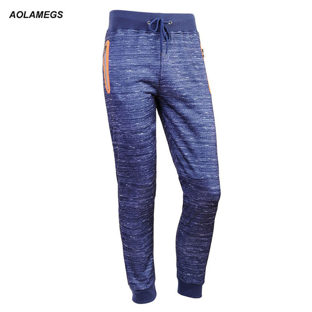 Aolamegs Men Casual Jogger Pants Sportwear 2017 Mens Sweatpants With Zipper Pockets Drawstring Pants High Quality Gyms Clothing