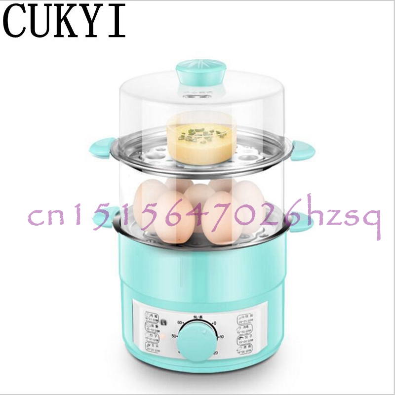 CUKYI 220V 600W Household Double layer electric Egg Cooker Boiler for up to 14 eggs Stainless steel tray Hot pot/Cook noodles цена