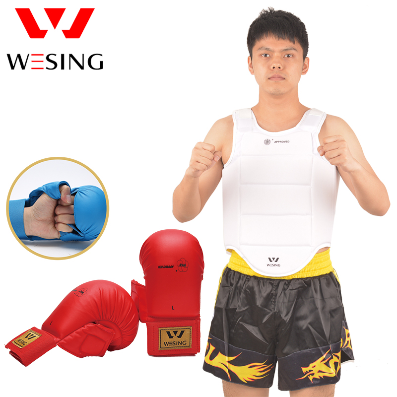 Wesing Men Karate Protector Equipment Karate Gloves Protector Thumb Karate Chest Protective WKF Approved competetion free shipping wesing women karate chest guard female boxing chest protector approved wkf