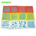 HAPPYXUAN 12 diseños/set Plástico Lavable Plantilla de Dibujo Tablero Conjunto de Plantillas para la pintura de La Raya de Los Niños Juguetes