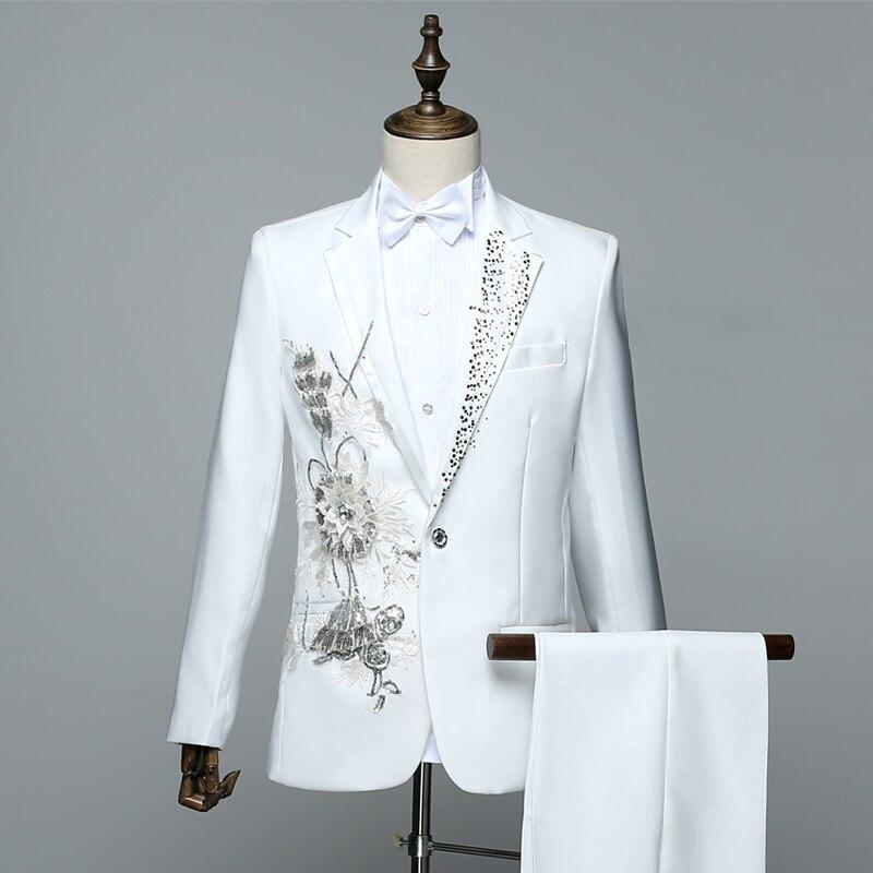 Sparkly Crystals Men s Suits Red White Sequins Applique Blazers Coat ... 930fd1d119e3