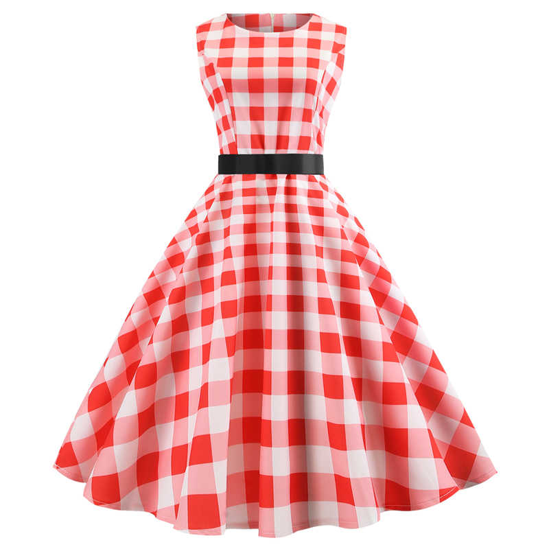 Red White Plaid Vintage Dress Women Party Dress Plus Size Dress Vestidos  Hepburn Elegant Casual Rockabilly Pin Up Robe Femme