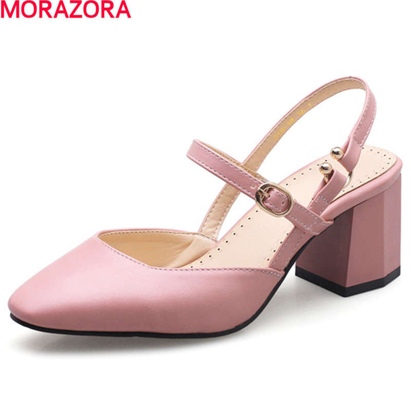 MORAZORA popular elegant High heels shoes woman fashion buckle wedding party shoes in spring autumn women pumps single shoes 2017 free shipping siketu spring and autumn women shoes sex high heels shoes wedding shoes pumps g194