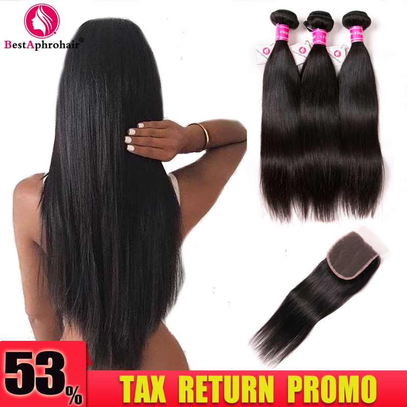 Aphro Brazilian Straight Hair Bundles Med Closure Non Remy Brazilian - Menneskelig hår (for svart)
