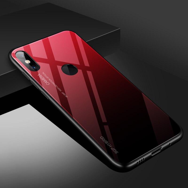 Для Xiaomi mi A1 a2 6 5x 6x mi x 2 note3 стеклянный чехол, силиконовый ударопрочный роскошный чехол из закаленного стекла для Xiaomi mi x 2s - Цвет: Gradient red