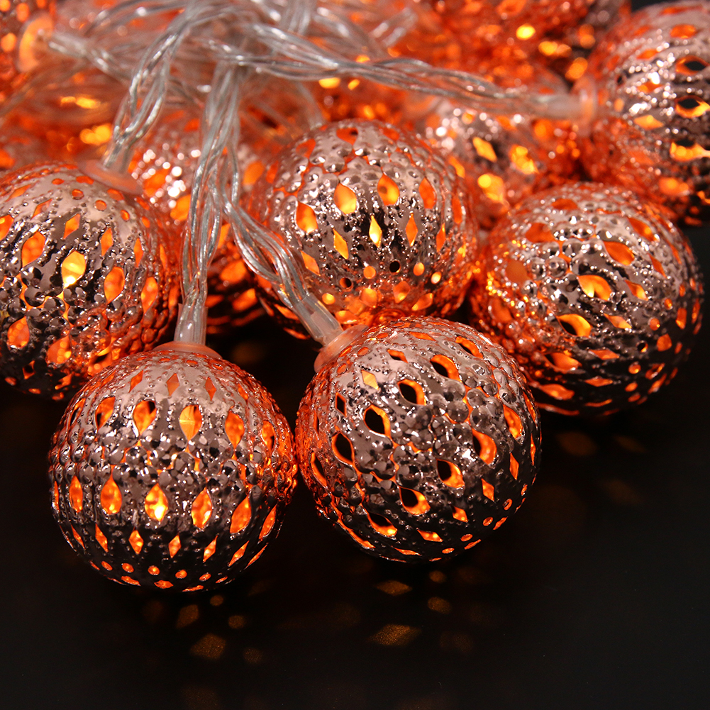 2m Outdoor Light Garland Chain Rose Gold LED String Lighting For Holiday Decoration Battery Operated