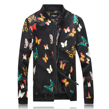 J18060 Beautiful color butterfly pattern fashion luxury jacket men Autumn 2019 high-quality wash and wear mens jackets and coats